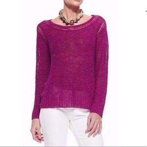 Eileen Fisher Cerise Slub Knit Linen Sweater Top